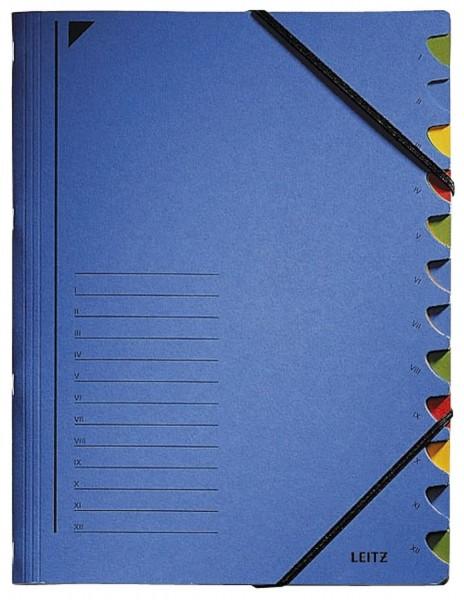 Leitz 3912 Ordnungsmappe - 12 Fächer, A4, Pendarec-Karton (RC), 430 g/qm, blau