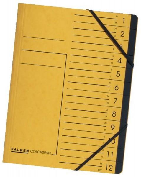 Falken Ordnungsmappe - 12 Fächer A-Z, A4, Colorspan-Karton 355 g/qm, gelb