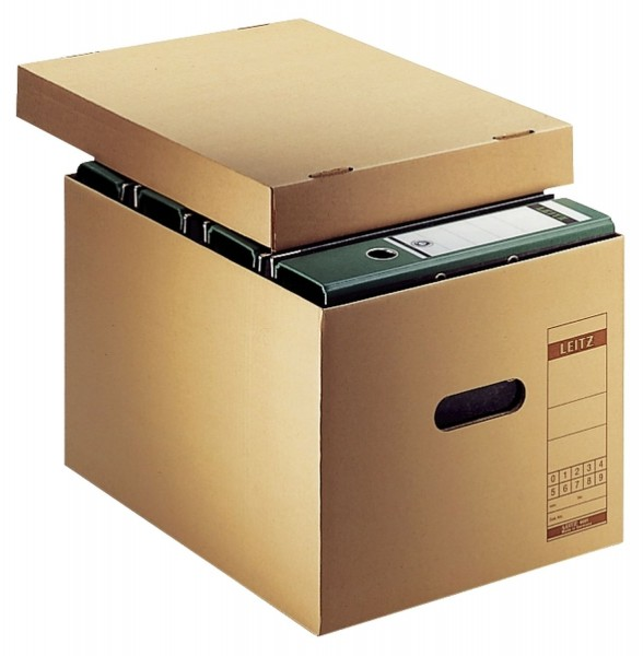Leitz 6081 Archiv-Schachtel, A4, mit Deckel, naturbraun