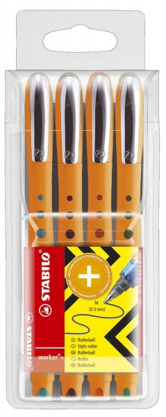 Stabilo® Tintenroller worker® medium, 0,5 mm, Kunststoffetui mit 4 Stiften