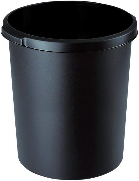 HAN Papierkorb 30 Liter, rund, 2 Griffmulden, extra stabil, schwarz