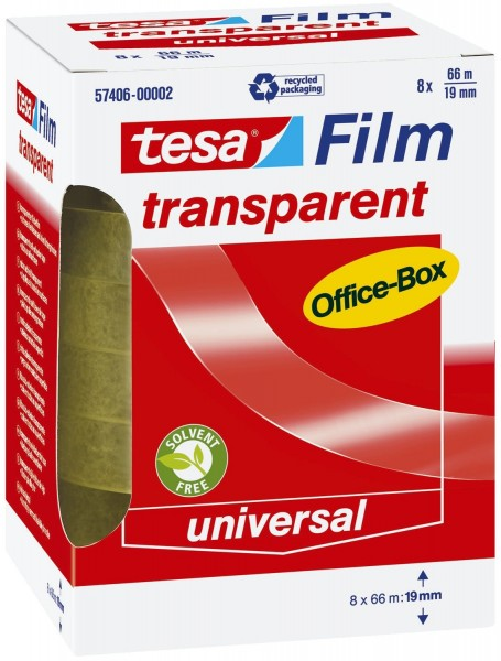 tesa® Klebefilm Office Box - transparent 8 St., Bandgröße (L x B): 66 m x 19 mm