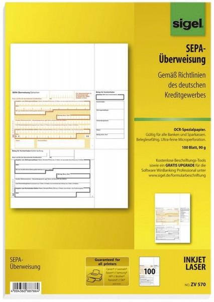 SIGEL PC-SEPA-Überweisung, Gültig für alle Banken und Sparkassen, 100 Stück