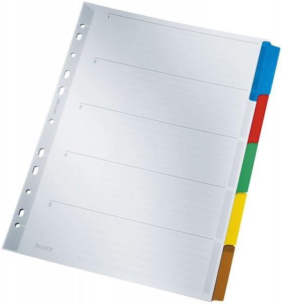 Leitz 4320 Register - blanko, Karton, A4, 5 Blatt, Taben 5-farbig