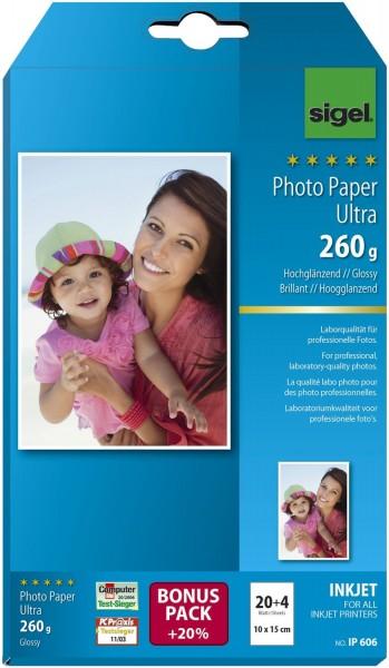 Sigel® Inkjet Fotopapier Ultra - 10x15 cm, hochglänzend, 260 g/qm, 24 Blatt