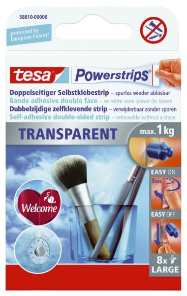 tesa® Powerstrips® Large - ablösbar, Tragfähigkeit 1 kg, transparent