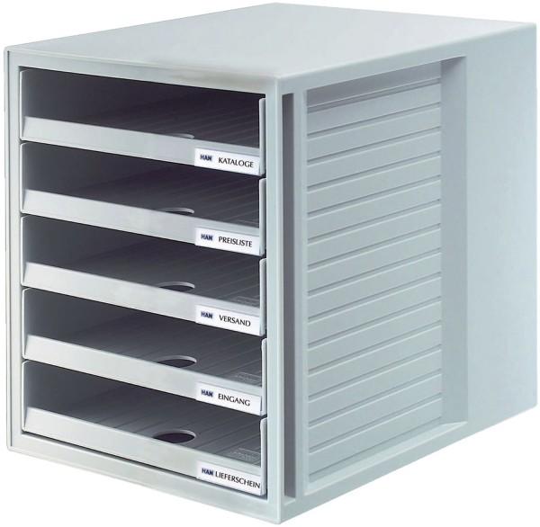 HAN Schublabdenbox SCHRANK-SET - A4/C4, 5 offene Schubladen, lichtgrau