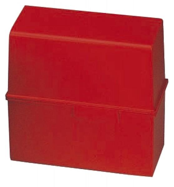 HAN Karteibox DIN A6 quer, für 400 Karten mit Stahlscharnier, rot
