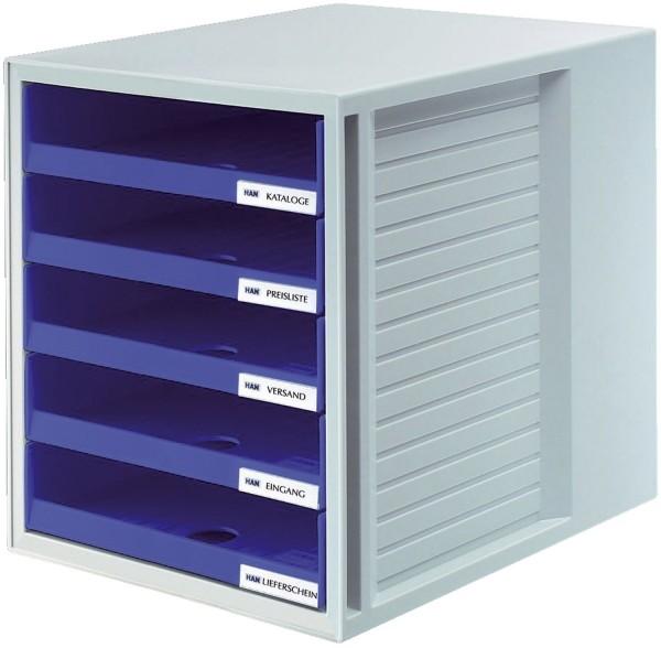 HAN Schublabdenbox SCHRANK-SET - A4/C4, 5 offene Schubladen, lichtgrau/blau