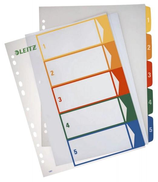 Leitz 1291 Zahlenregister - PP, blanko, bedruckbar, A4 Überbreite, 5 Blatt, farbig