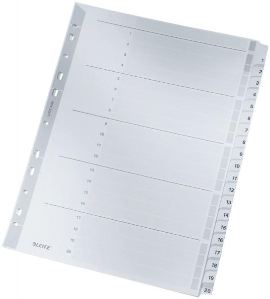 Leitz 4326 Zahlenregister - 1-20, A4, Karton, 20 Blatt, grau