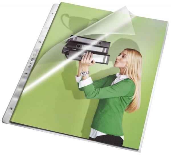 Leitz 4780 Prospekthüllen, oben und Lochseite offen - mit Papiereinlage, genarbt 0,13 mm, A4