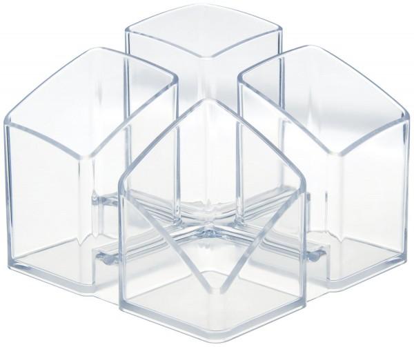 HAN Schreibtisch-Köcher SCALA - 4 Fächern, transparent-klar