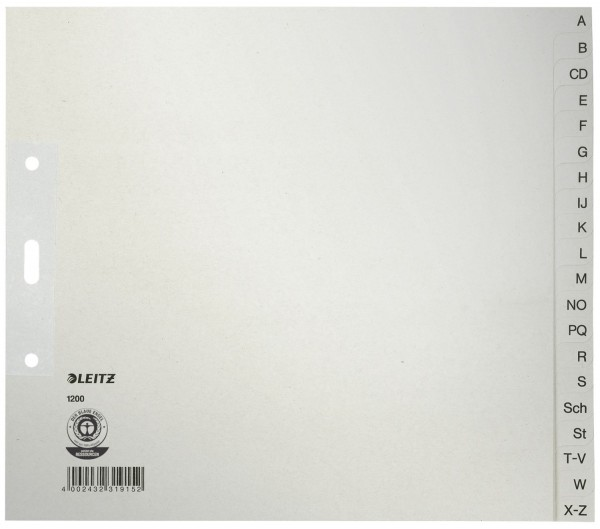 Leitz 1200 Register - A - Z, Papier, A4 Überbreite, 21 cm hoch, 20 Blatt, grau
