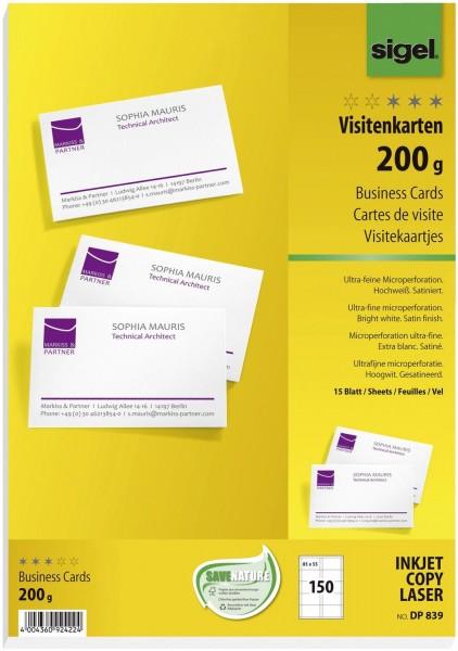SIGEL Visitenkarten, microperforiert, satiniert200 g/qm, hochweiß, 150 Stück