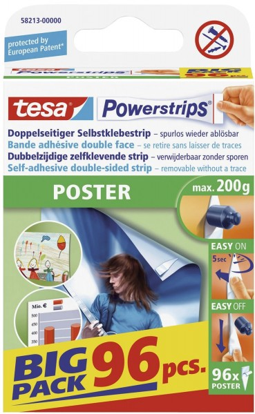 tesa® Powerstrips® Poster - ablösbar, Tragfähigkeit 200 g, weiß, 96 Stück