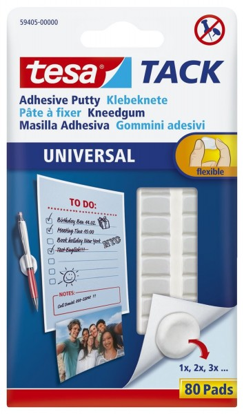 tesa® Klebestrips Tack - Klebeknete, 80 Stück, 50g, ablösbar, weiß