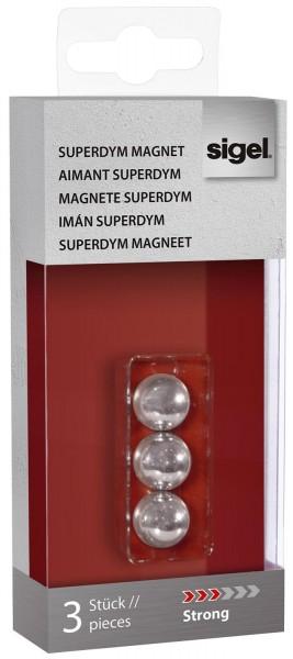 """SIGEL SuperDym-Magnete C5 """"Strong"""", Kugel-Design, Ø 12,5 mm, 3 Stück"""