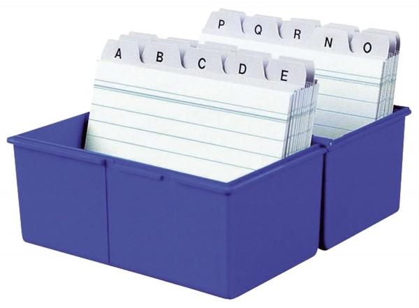 HAN Karteibox DIN A7 quer, für 300 Karten mit Stahlscharnier, blau