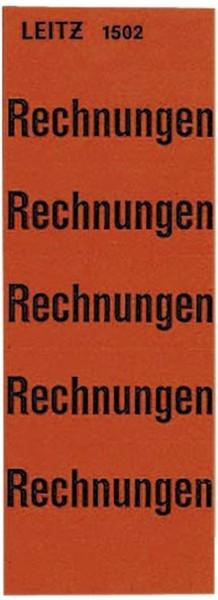 Leitz 1502 Inhaltsschild Rechnungen, selbstklebend, 100 Stück, rot