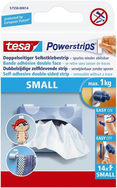 tesa® Powerstrips® Small - ablösbar, Tragfähigkeit 1 kg, weiß, 10 Stück