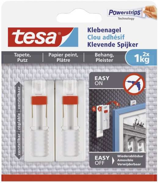 tesa® Powerstrips® Klebenagel - ablösbar, verstellbar, Tragfähigkeit 1kg, weiß, 2 Stück