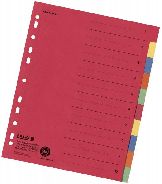Falken Zahlenregister - 1-10, Karton farbig, A4, 5 Farben, gelocht mit Orgadruck
