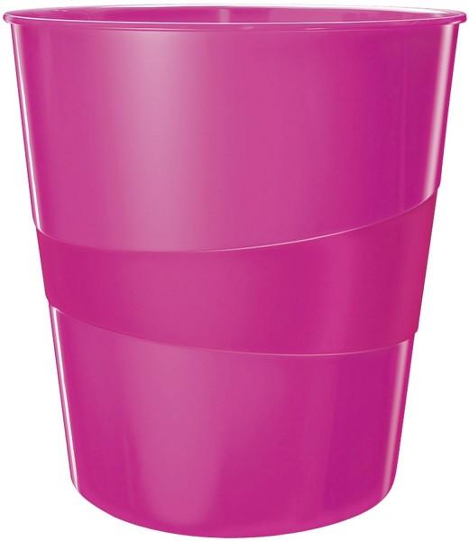 Leitz 5278 Papierkorb WOW - 15l, Polystyren, pink metallic