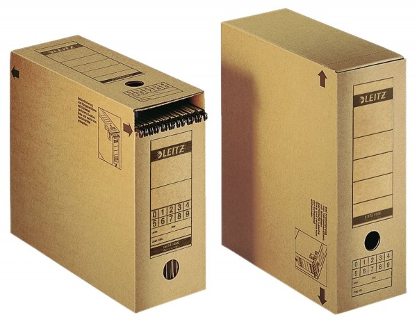 Leitz 6086 Archiv-Schachtel, A4, mit Verschlussklappe, naturbraun