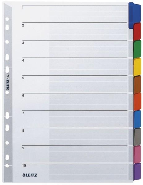Leitz 4321 Register - blanko, Karton, A4, 10 Blatt, Taben 10-farbig