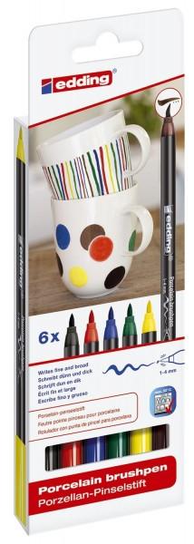 Edding 4200 Porzellan-Pinselstift - 1 - 4 mm, 6 Farben sortiert