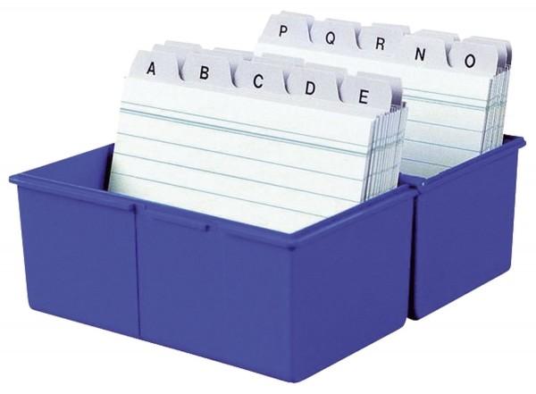 HAN Karteibox DIN A5 quer, für 450 Karten mit Stahlscharnier, blau