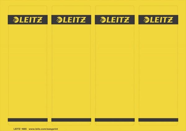 Leitz 1685 PC-beschriftbare Rückenschilder - Papier, kurz/breit,100 Stück, gelb