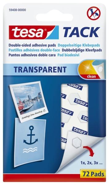 tesa® Klebestrips Tack - 72 Pads, ablösbar, transparent
