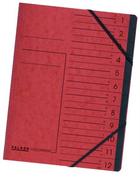 Falken Ordnungsmappe - 12 Fächer A-Z, A4, Colorspan-Karton 355 g/qm, rot