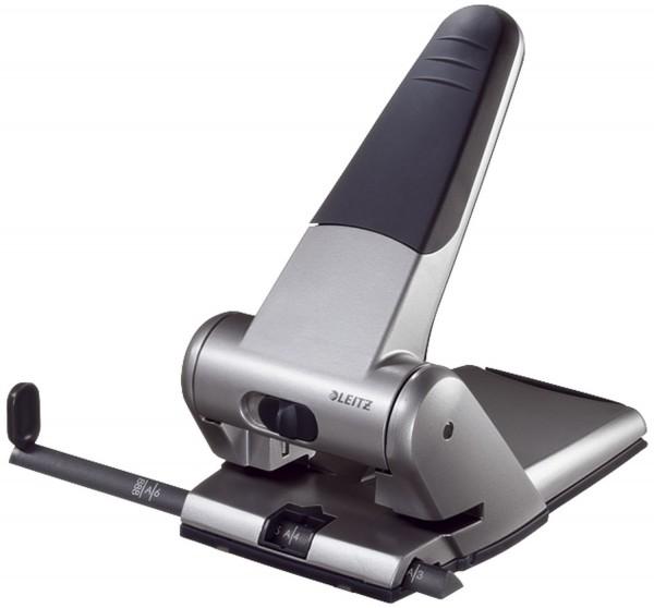 Leitz 5180 Registraturlocher bis A3, 6,5 mm, mit Anschlagschiene, silber