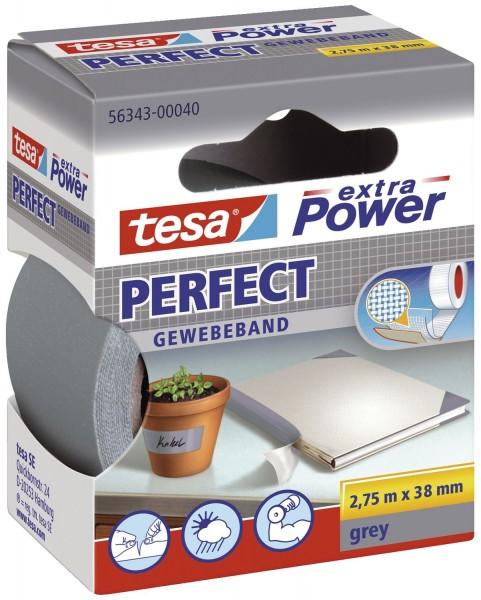 tesa® Gewebeklebeband extra Power Gewebeband, 2,75 m x 38 mm, grau