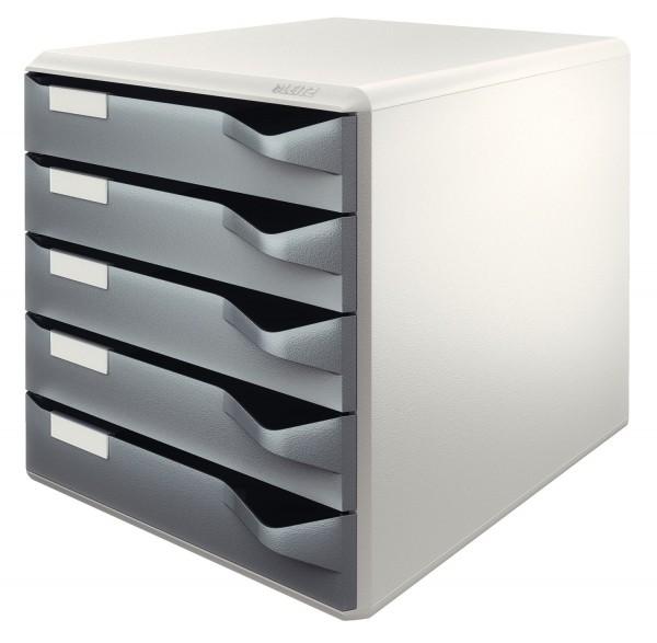 Leitz 5280 Schubladenset Post-Set - A4/C4, 5 halboffene Schubladen, lichtgrau/dunkelgrau