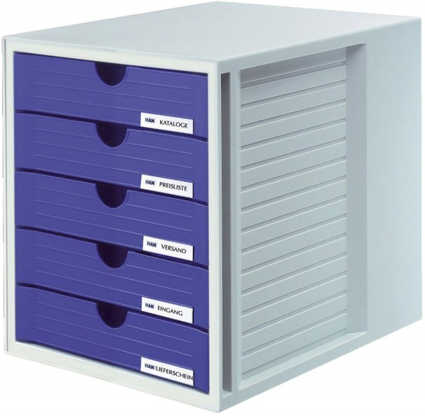 HAN Schubladenbox SYSTEMBOX - A4/C4, 5 geschlossene Schubladen, lichtgrau-blau