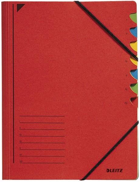 Leitz 3907 Ordnungsmappe - 7 Fächer, A4, Pendarec-Karton (RC), 430 g/qm, rot