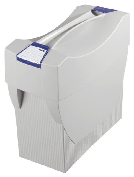 HAN Hängemappenbox SWING-PLUS mit Deckel, für 20 Hängemappen, lichtgrau