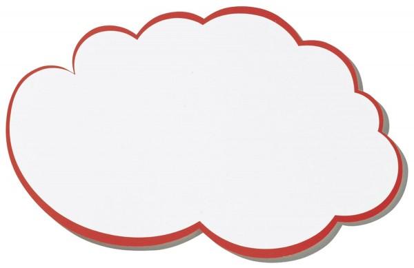 Franken Moderationskarte, Wolke, 230 x 140 mm, weiß mit rotem Rand, 20 Stück