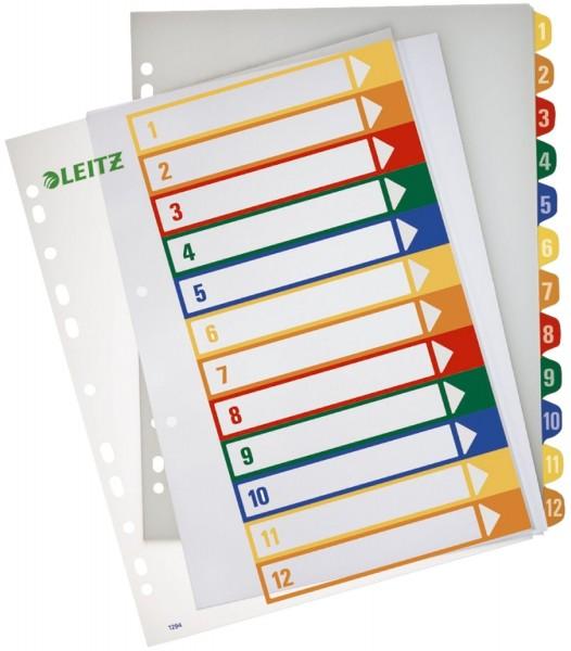 Leitz 1294 Zahlenregister - PP, blanko, bedruckbar, A4 Überbreite, 12 Blatt, farbig