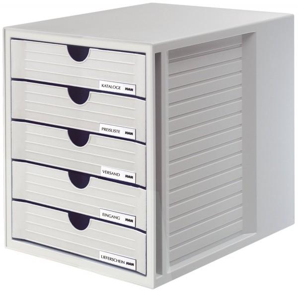 HAN Schubladenbox SYSTEMBOX - A4/C4, 5 geschlossene Schubladen, lichtgrau