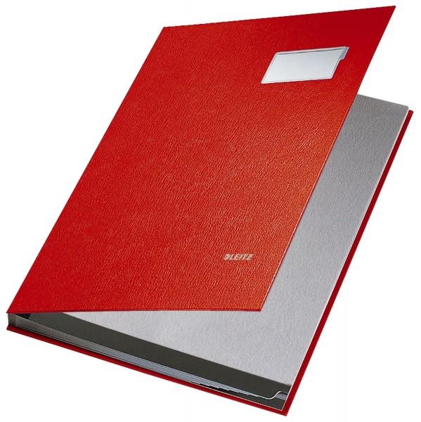 Leitz 5701 Unterschriftsmappe - 10 Fächer, PP kaschiert, rot