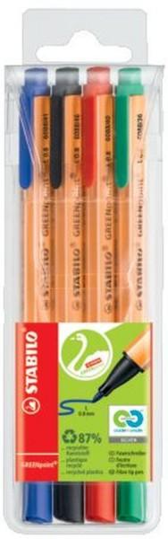 Stabilo® Faserschreiber GREENpoint®, 0,8 mm, Etui mit 4 Stiften