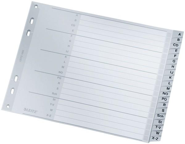 Leitz 1262 Register - A - Z, PP, A4 Überbreite, 18 cm hoch, 20 Blatt, grau