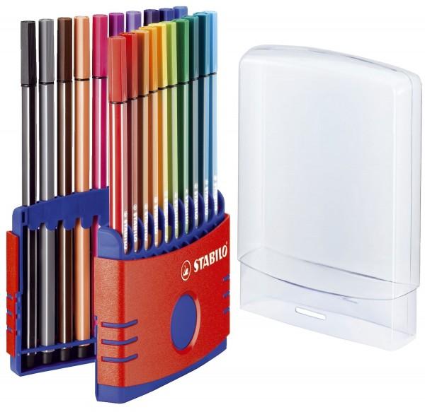 Stabilo® Fasermaler Pen 68 ColorParade - Etui rot, 20 Farben