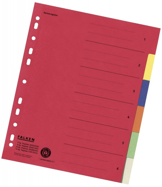 Falken Zahlenregister - 1-6, Karton farbig, A4, 6 Farben, gelocht mit Orgadruck