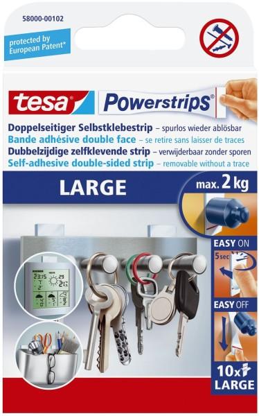 tesa® Powerstrips® Large - ablösbar, Tragfähigkeit 2 kg, weiß, 14 Stück